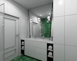 Paryski Szyk - Mała szara łazienka na poddaszu w bloku w domu jednorodzinnym bez okna, styl art deco - zdjęcie od Creoline