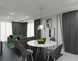 Paryski Szyk - Średnia otwarta biała jadalnia w salonie, styl art deco - zdjęcie od Creoline
