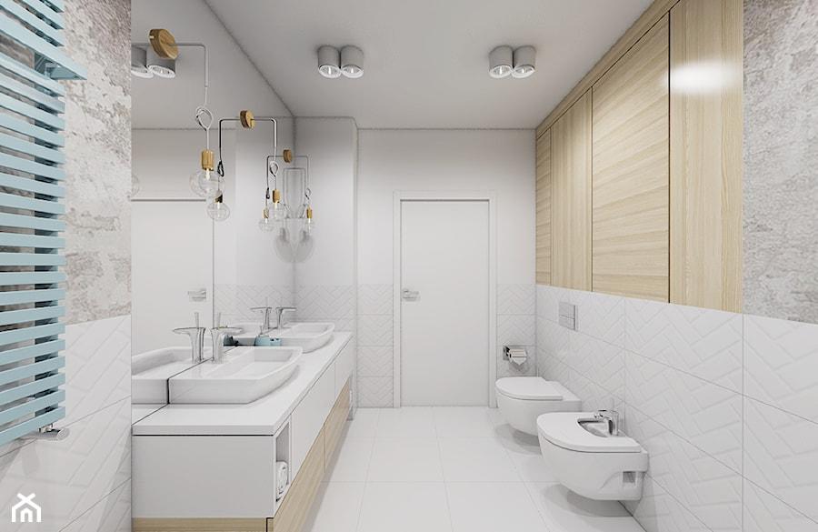 Burza piaskowa - Średnia szara łazienka na poddaszu w bloku w domu jednorodzinnym bez okna, styl nowoczesny - zdjęcie od Creoline