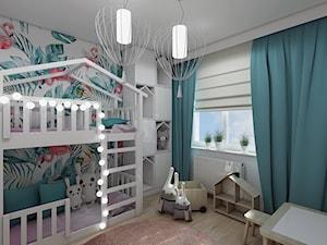 Flamingo - pokój dziewczynki - Mały szary pokój dziecka dla chłopca dla dziewczynki dla rodzeństwa dla ucznia dla malucha, styl nowoczesny - zdjęcie od Creoline