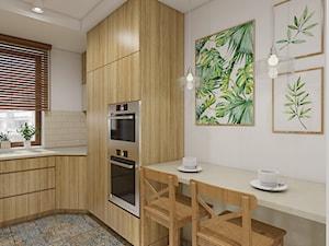 Botanical - Średnia zamknięta biała kuchnia w kształcie litery l z oknem, styl kolonialny - zdjęcie od Creoline