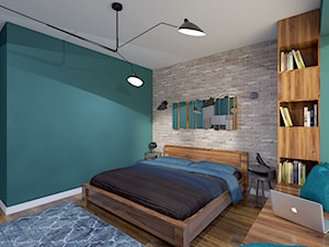 Klimatyczny dom jednorodzinny pod Warszawą - Średnia turkusowa sypialnia małżeńska, styl nowoczesny - zdjęcie od Creoline