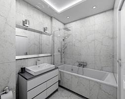 Nieoczywisty Glamour - Apartament Bakalarska Warszawa - Mała biała łazienka na poddaszu w bloku w domu jednorodzinnym bez okna, styl glamour - zdjęcie od Creoline