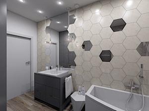 Hexagon w łazience - Mała biała szara łazienka na poddaszu w bloku w domu jednorodzinnym bez okna, styl nowoczesny - zdjęcie od Creoline