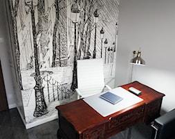 Gabinet - Małe szare biuro domowe w pokoju, styl eklektyczny - zdjęcie od Anna Wrona