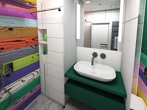 MIESZKANIE PRYWATNE, POZNAŃ, POW. 56 MKW II - Średnia biała łazienka w bloku w domu jednorodzinnym bez okna, styl art deco - zdjęcie od Genero