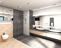 DOM JEDNORODZINNY, WIRY K. POZNANIA, POW. 186 MKW - Duża biała szara łazienka w domu jednorodzinnym z oknem, styl nowoczesny - zdjęcie od Genero