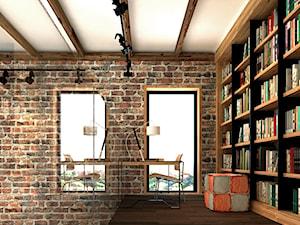 DOM JEDNORODZINNY, DĄBRÓWKA K. POZNANIA, POW. 230 MKW - Małe białe biuro kącik do pracy na poddaszu, styl nowoczesny - zdjęcie od Genero