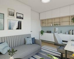 Jasny gabinet z szarą sofą - zdjęcie od Studio Projektowe Atoato - Homebook