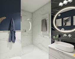 Duża łazienka z owalnym podświetlanym lustrem - zdjęcie od Studio Projektowe Atoato - Homebook