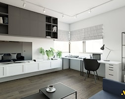 Jasny gabinet z grafitowymi szafkami - zdjęcie od Studio Projektowe Atoato - Homebook