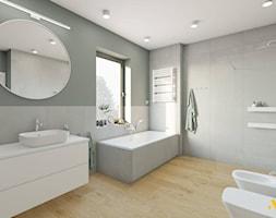 Szara łazienka z dużą wanną - zdjęcie od Studio Projektowe Atoato - Homebook