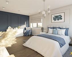 Biała sypialnia z granatową ścianą - zdjęcie od Studio Projektowe Atoato - Homebook