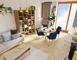 Jasny salon z jadalnią - zdjęcie od Studio Projektowe Atoato - Homebook