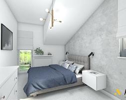 sypialnia z masa betonową na ścianie - zdjęcie od Studio Projektowe Atoato