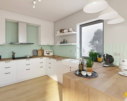 Kuchnia z drewnianym blatem - zdjęcie od Studio Projektowe Atoato - Homebook