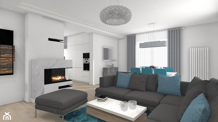 Włocławek- wnętrza w parterowym domu - Salon, styl nowoczesny - zdjęcie od Justyna Lewicka Design