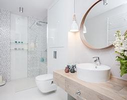 Fabryka Czekolady III, Kraków - Średnia biała szara łazienka w bloku w domu jednorodzinnym, styl nowoczesny - zdjęcie od Justyna Lewicka Design