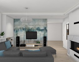 Włocławek- wnętrza w parterowym domu - Średni biały salon, styl nowoczesny - zdjęcie od Justyna Lewicka Design