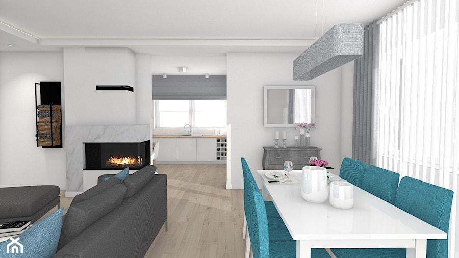 Włocławek- wnętrza w parterowym domu - Średnia otwarta biała jadalnia w salonie, styl nowoczesny - zdjęcie od Justyna Lewicka Design
