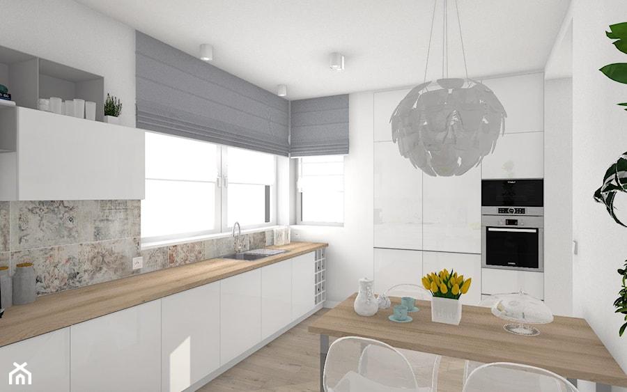 Włocławek- wnętrza w parterowym domu - Duża biała kuchnia w kształcie litery l z oknem, styl nowoczesny - zdjęcie od Justyna Lewicka Design