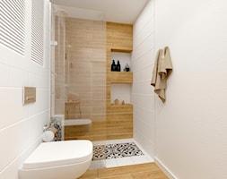 Wrocławska, Kraków. Mieszkanie w stanie deweloperskim - Mała biała beżowa łazienka w bloku bez okna, styl prowansalski - zdjęcie od Justyna Lewicka Design