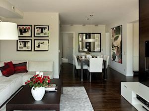 Apartament modernistyczny - Średni biały salon z jadalnią, styl nowoczesny - zdjęcie od CKTprojekt