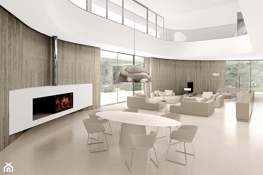 Rezydencja minimalistyczna - Duży beżowy salon, styl minimalistyczny - zdjęcie od CKTprojekt