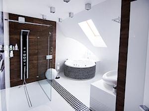 Marynarskie marzenia - konkurs Katowice - Duża biała brązowa łazienka na poddaszu w domu jednorodzinnym jako salon kąpielowy z oknem, styl nowoczesny - zdjęcie od Concept JO ANA