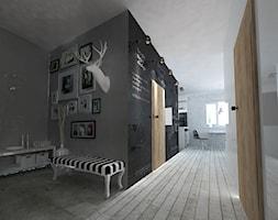 hol salon kuchnia ➊ - Średni szary hol / przedpokój, styl glamour - zdjęcie od bright light design ❘ architektura wnętrz