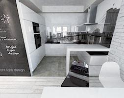 hol salon kuchnia ➊ - Średnia otwarta kuchnia w kształcie litery u, styl nowoczesny - zdjęcie od bright light design ❘ architektura wnętrz - Homebook