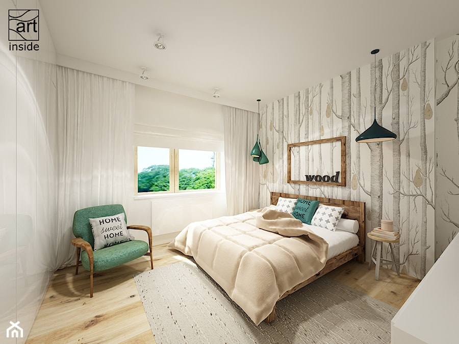 Sypialnia z tapetą WOODS & PEARS - zdjęcie od artinside ...