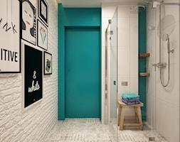 łazienka z turkusowym akcentem - zdjęcie od art inside - studio projektowania wnętrz i ogrodów
