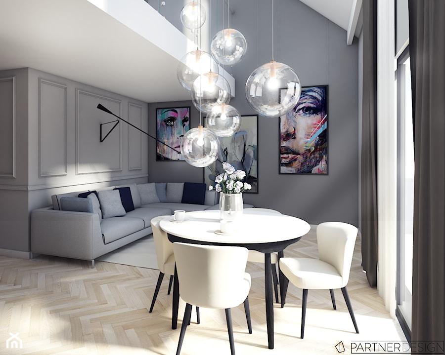 mieszkanie z antresol redni salon z jadalni z antresol styl art deco zdj cie od partner. Black Bedroom Furniture Sets. Home Design Ideas