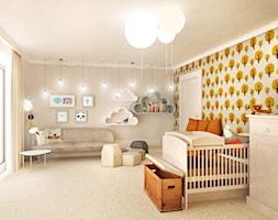 SYPIALNIA MALUSZKA - Duży beżowy pomarańczowy pokój dziecka dla chłopca dla niemowlaka - zdjęcie od Partner Design