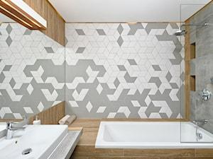 Mieszkanie pokazowe - Mała szara kolorowa łazienka bez okna, styl skandynawski - zdjęcie od Q2Design