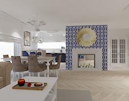 Salon kuchnia i oranżeria w wersji Hampton - Duży szary salon z kuchnią z jadalnią - zdjęcie od Maciejewska Design