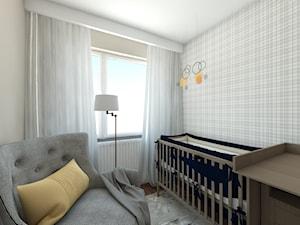 pokój córki - Mały biały szary pokój dziecka dla chłopca dla dziewczynki dla niemowlaka, styl nowoczesny - zdjęcie od Maciejewska Design