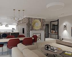 Salon kuchnia i oranżeria w wersji klasycznej - Duży szary salon z kuchnią z jadalnią - zdjęcie od Maciejewska Design