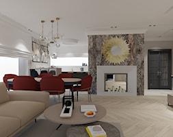 Salon kuchnia i oranżeria w wersji klasycznej - Średni szary salon z kuchnią z jadalnią - zdjęcie od Maciejewska Design
