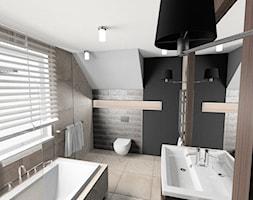 Łazienka - Duża beżowa czarna łazienka na poddaszu w domu jednorodzinnym z oknem, styl vintage - zdjęcie od Maciejewska Design