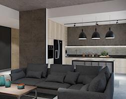 Apartament w Katowicach w loftowym stylu - Mały szary salon z kuchnią z jadalnią - zdjęcie od Maciejewska Design