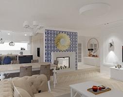 Salon kuchnia i oranżeria w wersji Hampton - Duży biały salon z kuchnią z jadalnią - zdjęcie od Maciejewska Design