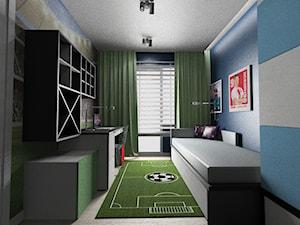 pokój dzieci - Mały szary niebieski pokój dziecka dla chłopca dla ucznia dla nastolatka, styl nowoczesny - zdjęcie od Maciejewska Design