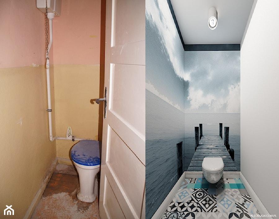 Toaleta Mała Kolorowa łazienka W Bloku Bez Okna Styl
