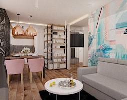 Mieszkanie 65m2 - Mały kolorowy salon z jadalnią, styl eklektyczny - zdjęcie od Ale design Grzegorz Grzywacz