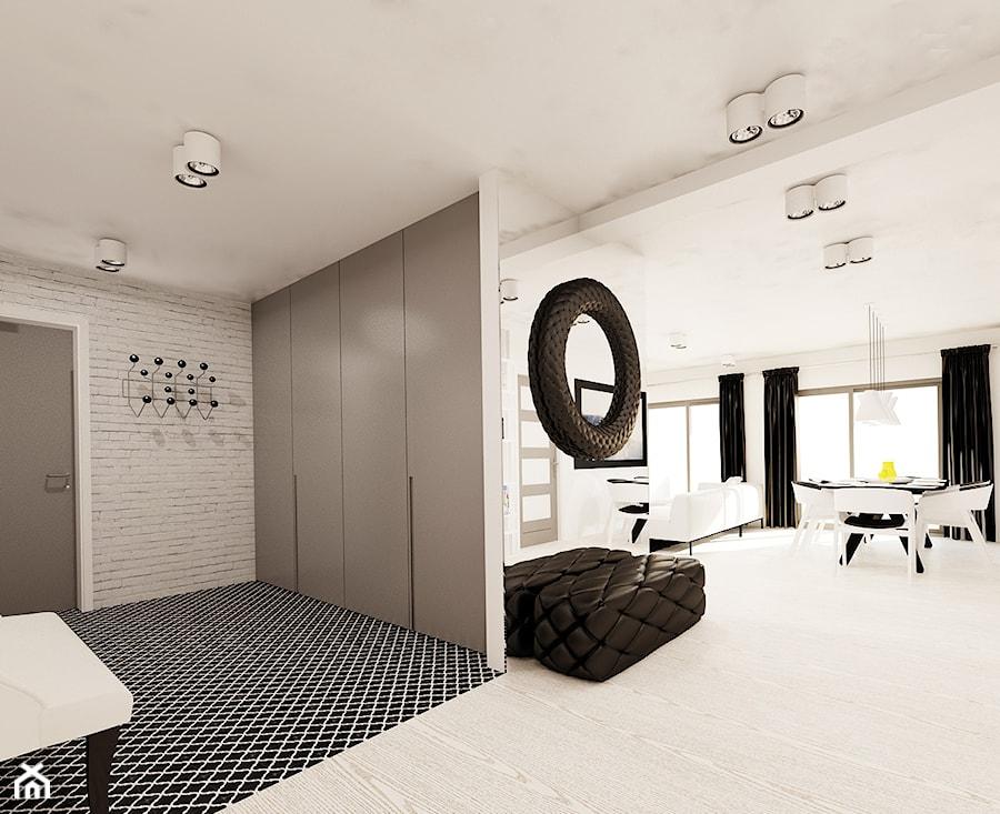Czarno biały salon z kuchnią  zdjęcie od Ale design