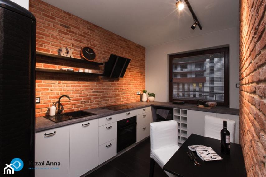 Pomysły na aranżację ściany nad blatem kuchennym  Homebook pl -> Kuchnia Biel Cegla