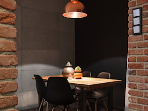 mieszkanie kawalera - Mała zamknięta czarna brązowa szara jadalnia jako osobne pomieszczenie, styl nowoczesny - zdjęcie od Anna Krzak architektura wnętrz