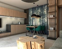 Apartament Puszcza Kampinowska - Mała otwarta beżowa czarna jadalnia w kuchni w salonie, styl nowoczesny - zdjęcie od NIEBANALNE